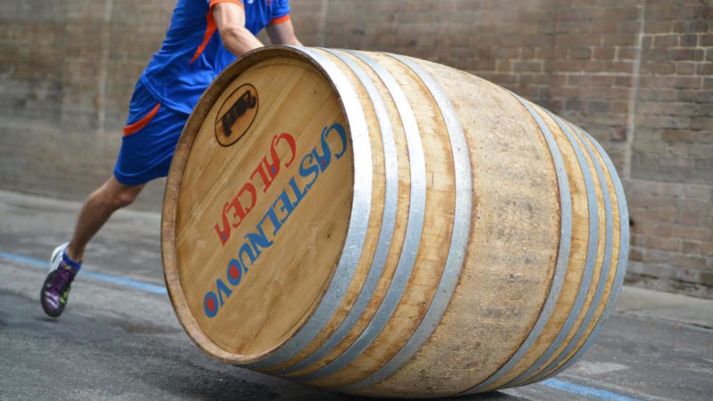 wine barrel down the road